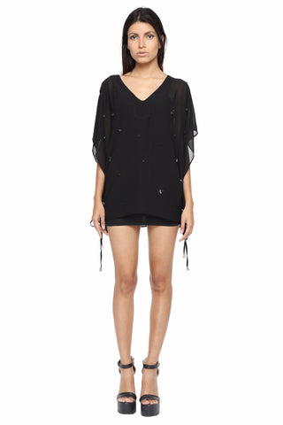 Black Kaftan with Front Embellishment Front