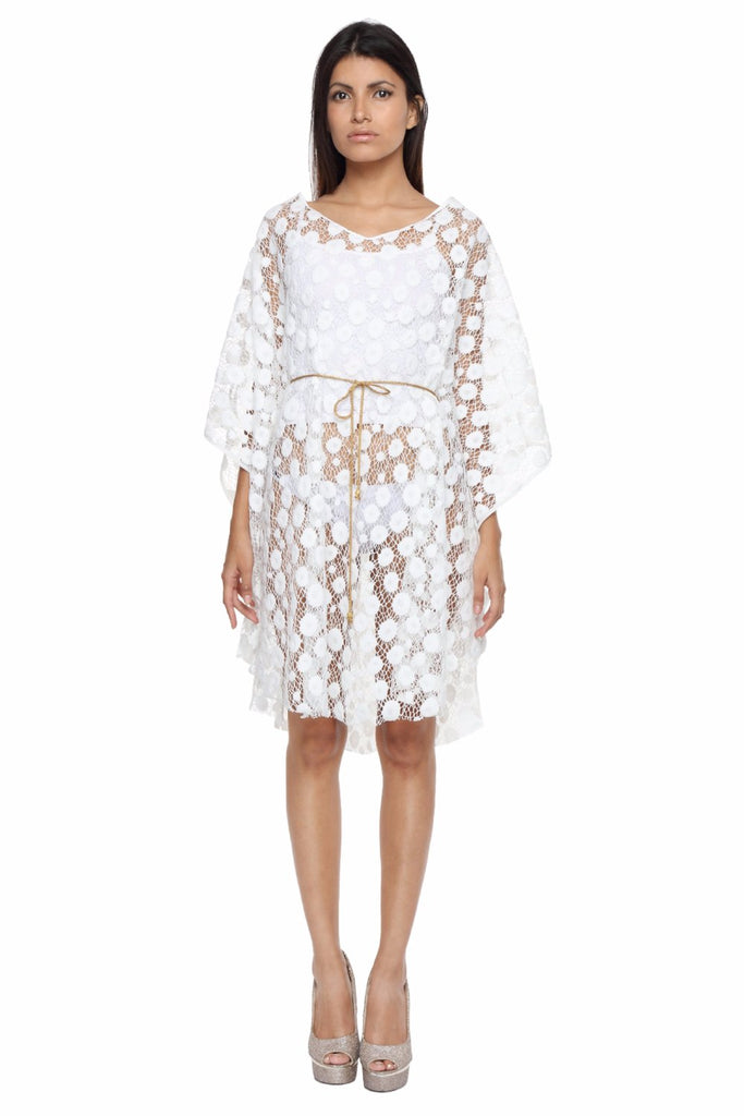 White Lace Cape with Chain Belt Front