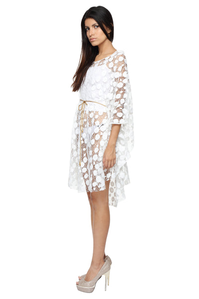 White Lace Cape with Chain Belt Side