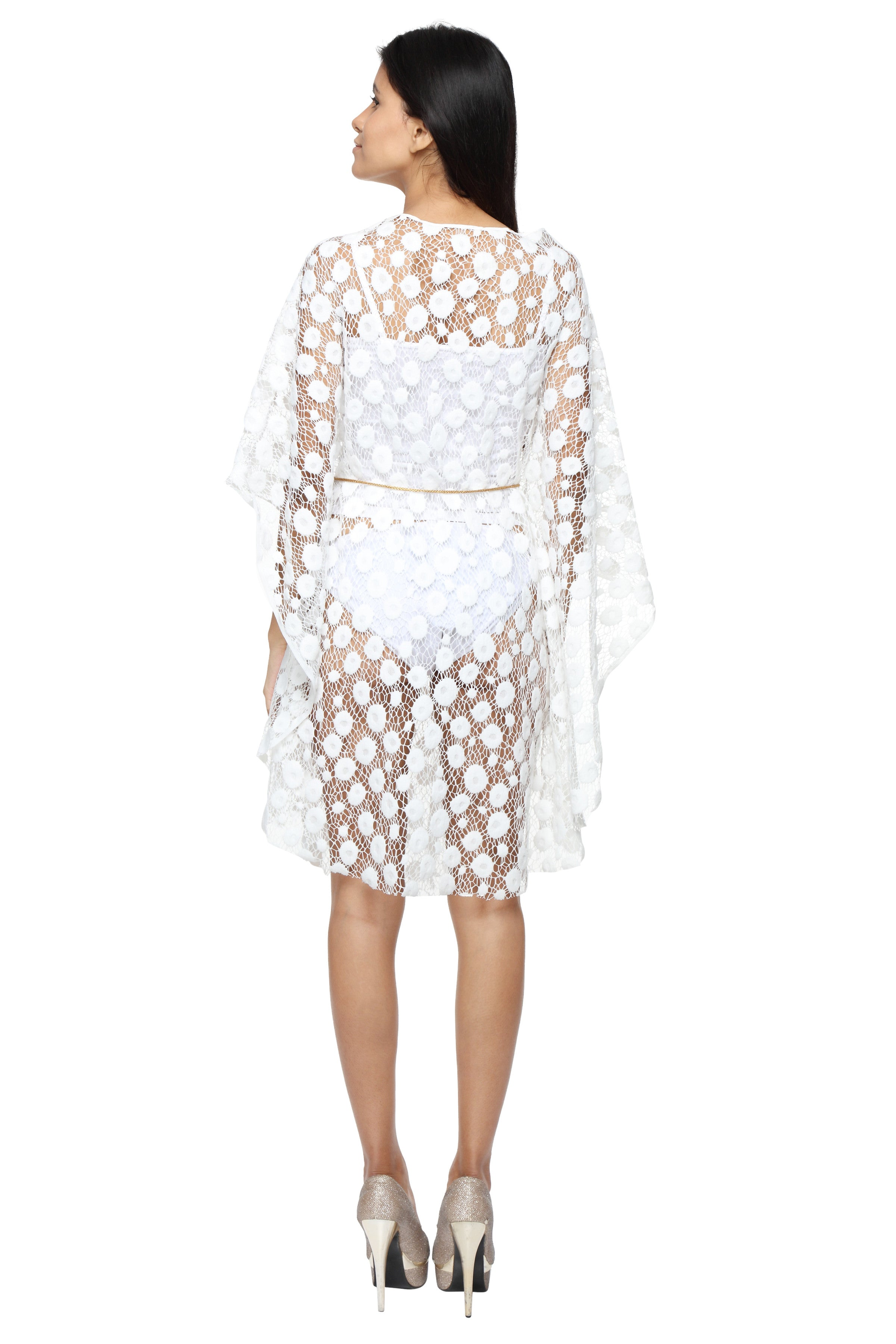 White Lace Cape with Chain Belt Back