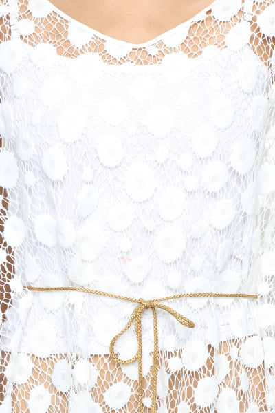 White Lace Cape with Chain Belt Close Up