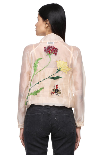 Organza Jacket with Embroidery Back