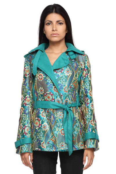 Summer Trench Coat in Bhutanese Fabric Front 1