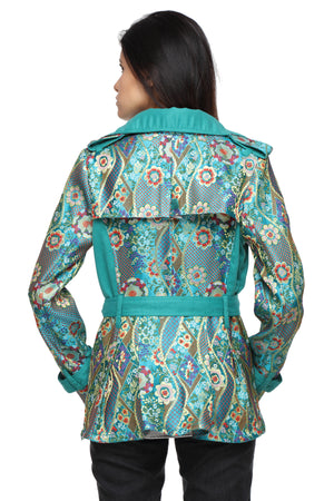Summer Trench Coat in Bhutanese Fabric Back