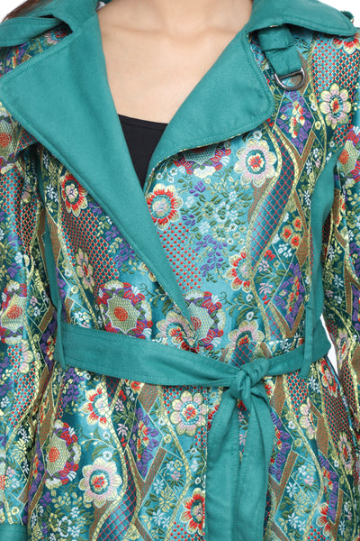 Summer Trench Coat in Bhutanese Fabric Close Up