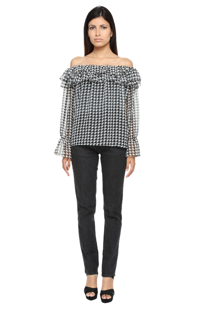 Off Shoulder Ruffle Top in Houndstooth Print Front