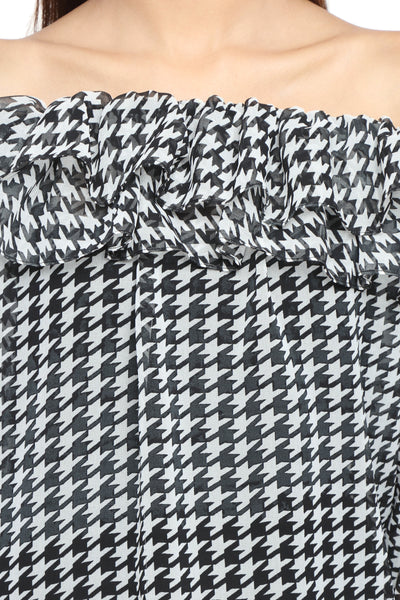 Off Shoulder Ruffle Top in Houndstooth Print Close Up