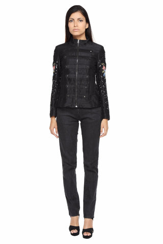 Military Jacket in Black Silk with Arm Embroidery Front
