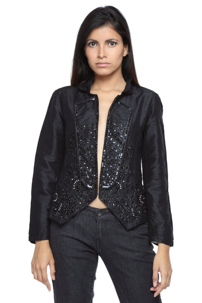 Napoleon Jacket in Black Silk with Embroidery Front