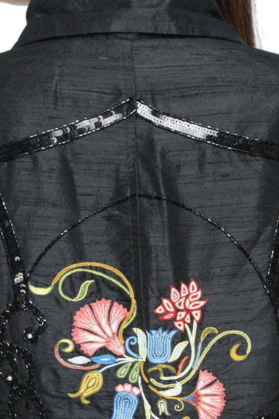 Napoleon Jacket in Black Silk with Embroidery Close Up 1