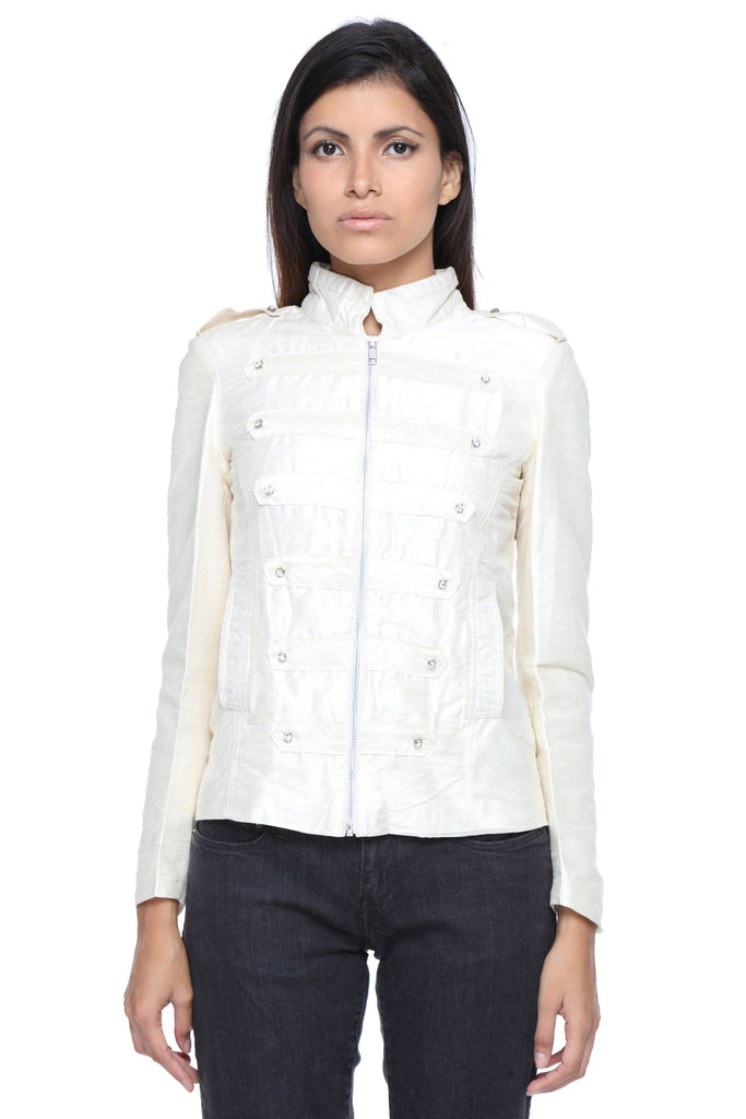Military Jacket in White Silk with Embroidery Front