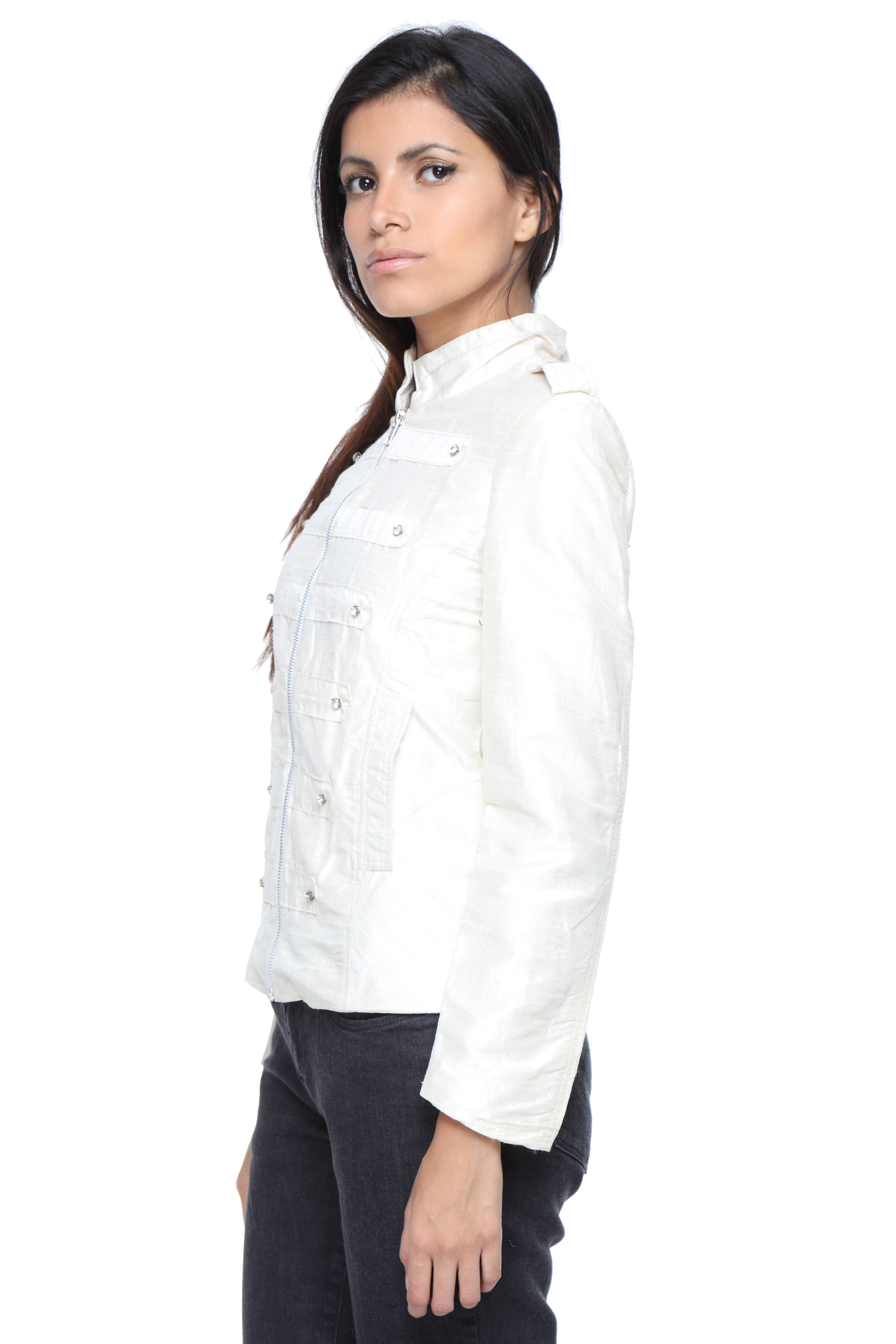 Military Jacket in White Silk with Embroidery Side