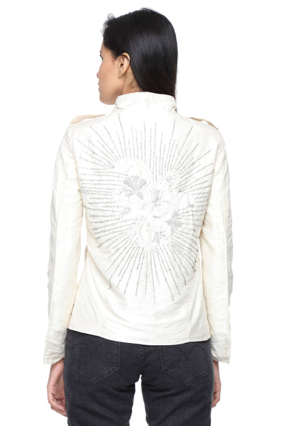 Military Jacket in White Silk with Embroidery Back