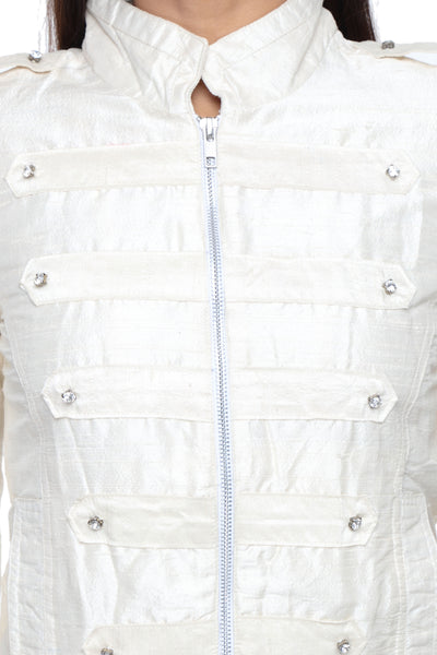 Military Jacket in White Silk with Embroidery Front Close Up