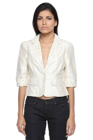The Classic Jacket in Silk with Pearl Embroidery Front
