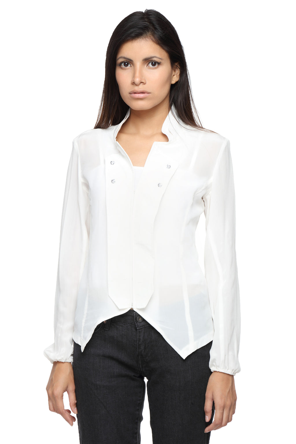 Napoleon Top in Silk with Swarovksi Embellishments Front