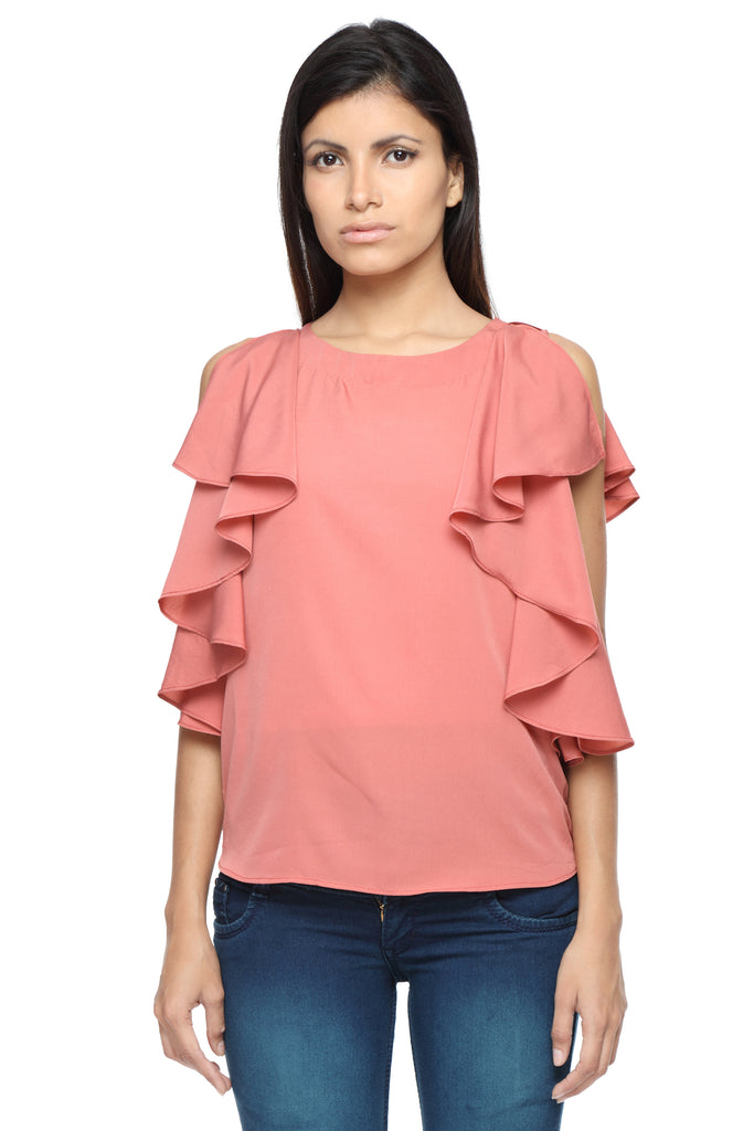 Ruffle Shoulder Top in Coral Front