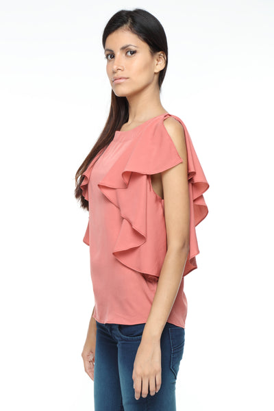 Ruffle Shoulder Top in Coral Side