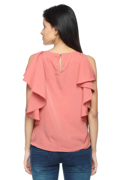 Ruffle Shoulder Top in Coral Back