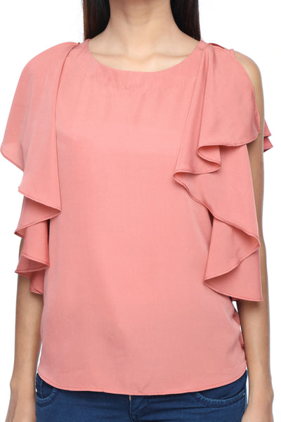 Ruffle Shoulder Top in Coral Close Up
