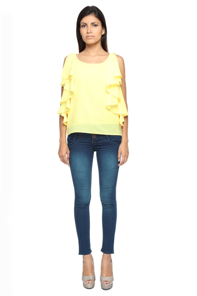 Ruffle Shoulder Top in Yellow Front