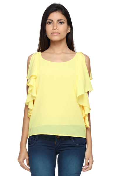 Ruffle Shoulder Top in Yellow Front 1
