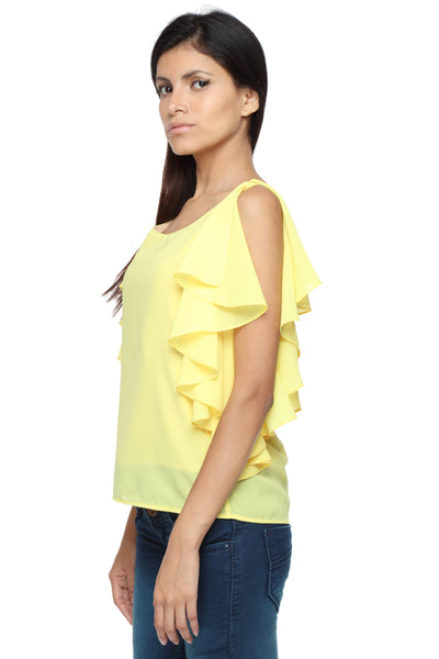 Ruffle Shoulder Top in Yellow Side