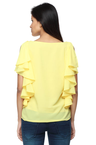 Ruffle Shoulder Top in Yellow Back