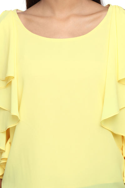 Ruffle Shoulder Top in Yellow Close Up
