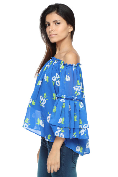 Off Shoulder Top with Ruffle Arms in Blue Print Side