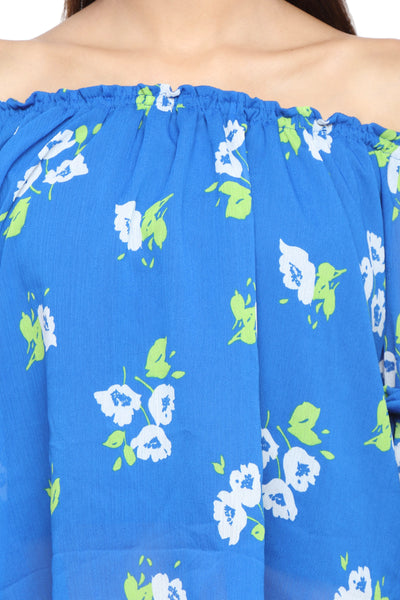 Off Shoulder Top with Ruffle Arms in Blue Print Close Up