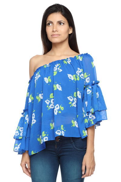 Off Shoulder Top with Ruffle Arms in Blue Print Front 1