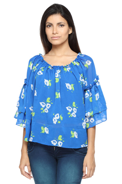 Off Shoulder Top with Ruffle Arms in Blue Print Front 2