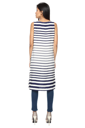 Blue Stripes Long Slit Top Back