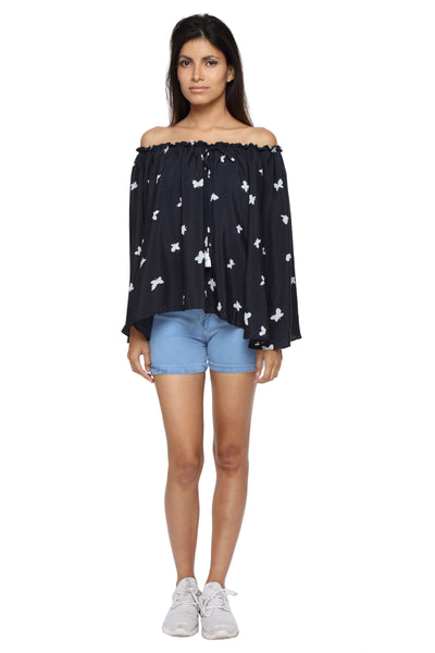 Off Shoulder Top in Butterfly Print Front 1