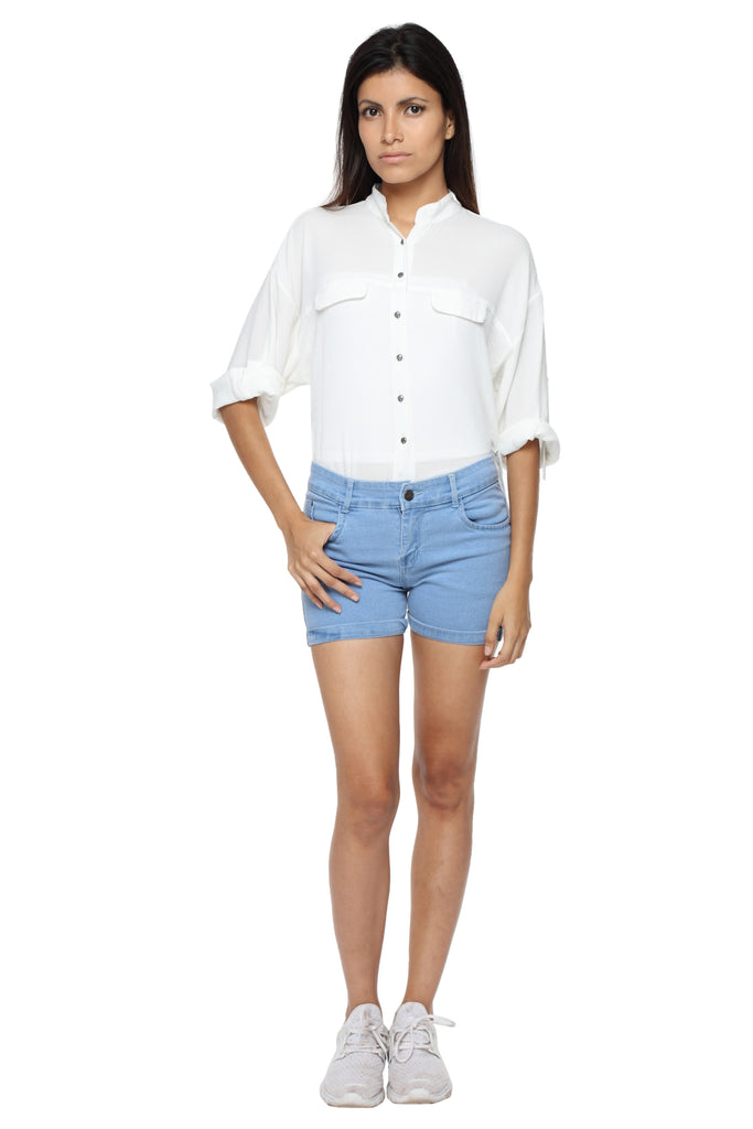 Mandarin Collar Button Down White Top Front