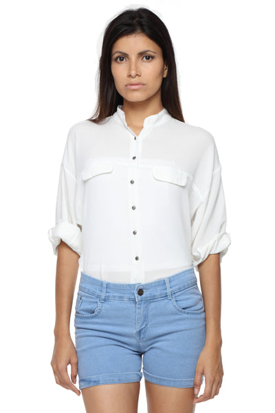 Mandarin Collar Button Down White Top Front 1