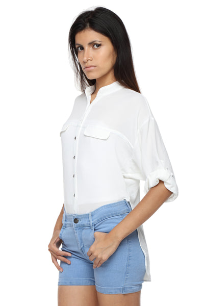 Mandarin Collar Button Down White Top Side