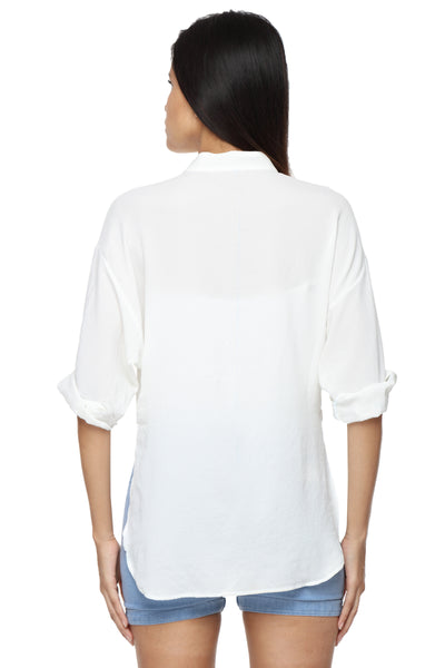 Mandarin Collar Button Down White Top Back