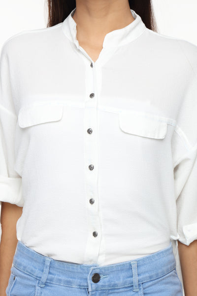 Mandarin Collar Button Down White Top Close Up