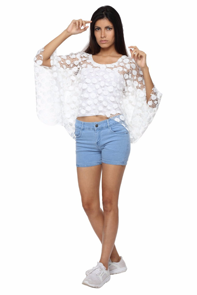 Cape Top in White Lace Front