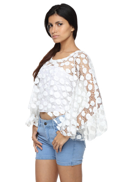 Cape Top in White Lace Side