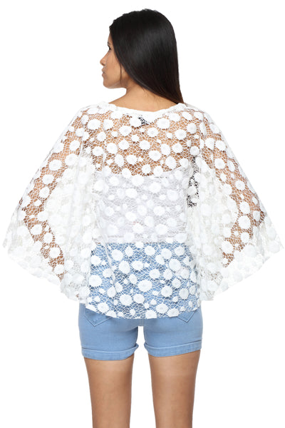 Cape Top in White Lace Back