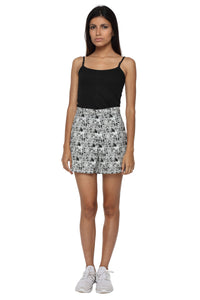 Black Graphic High Waist Shorts Front