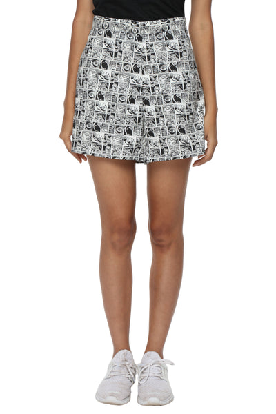 Black Graphic High Waist Shorts Front 1