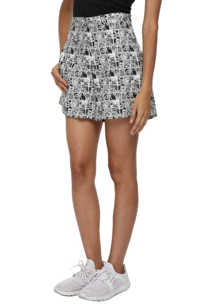Black Graphic High Waist Shorts Side