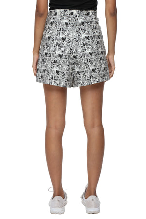 Black Graphic High Waist Shorts Back