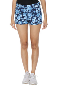 High Waist Shorts in Blue Floral Front