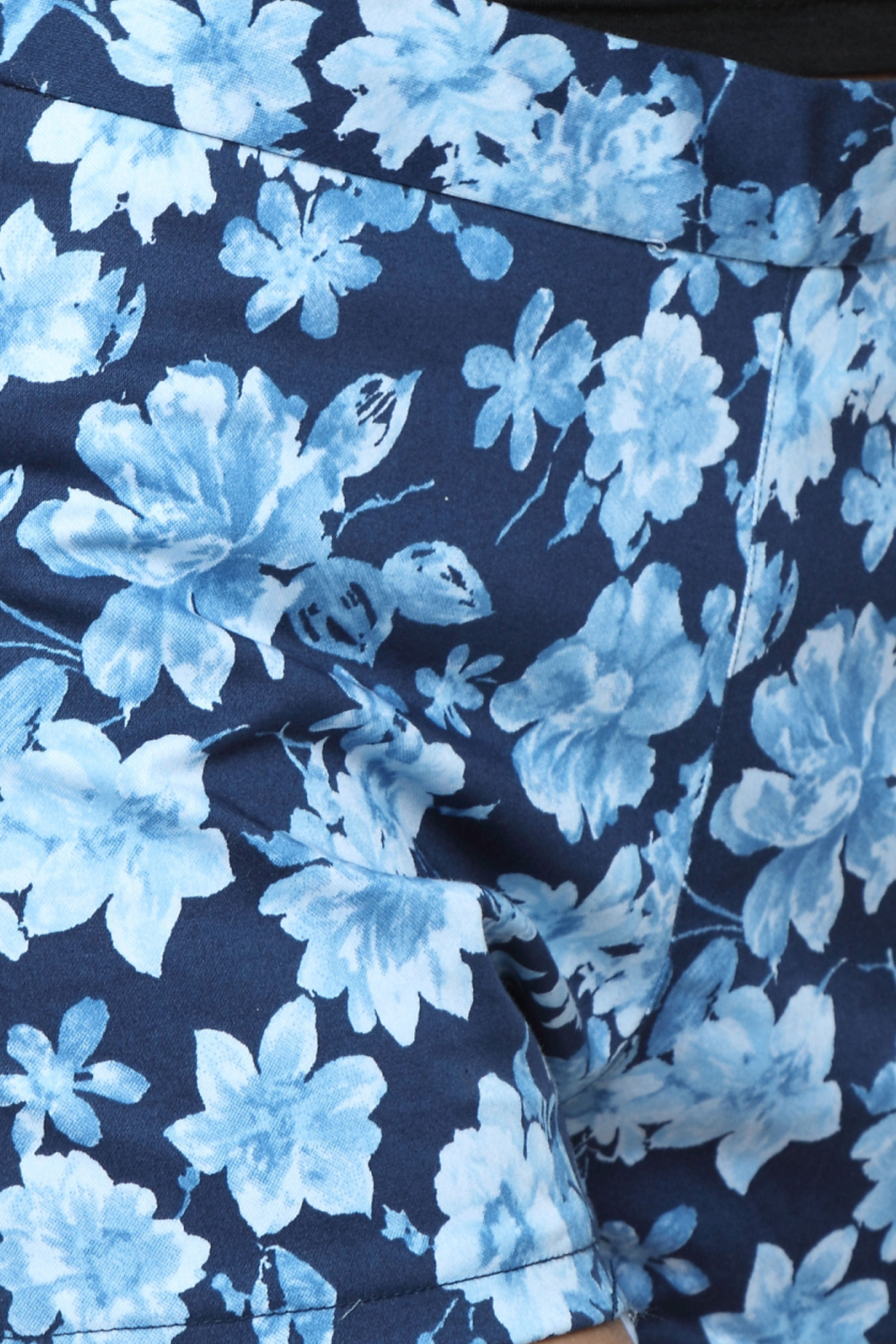 High Waist Shorts in Blue Floral Close Up