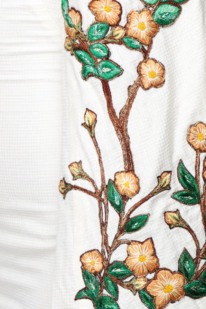 Mini Dress With Kimono Sleeves and Hand Embroidery Close Up